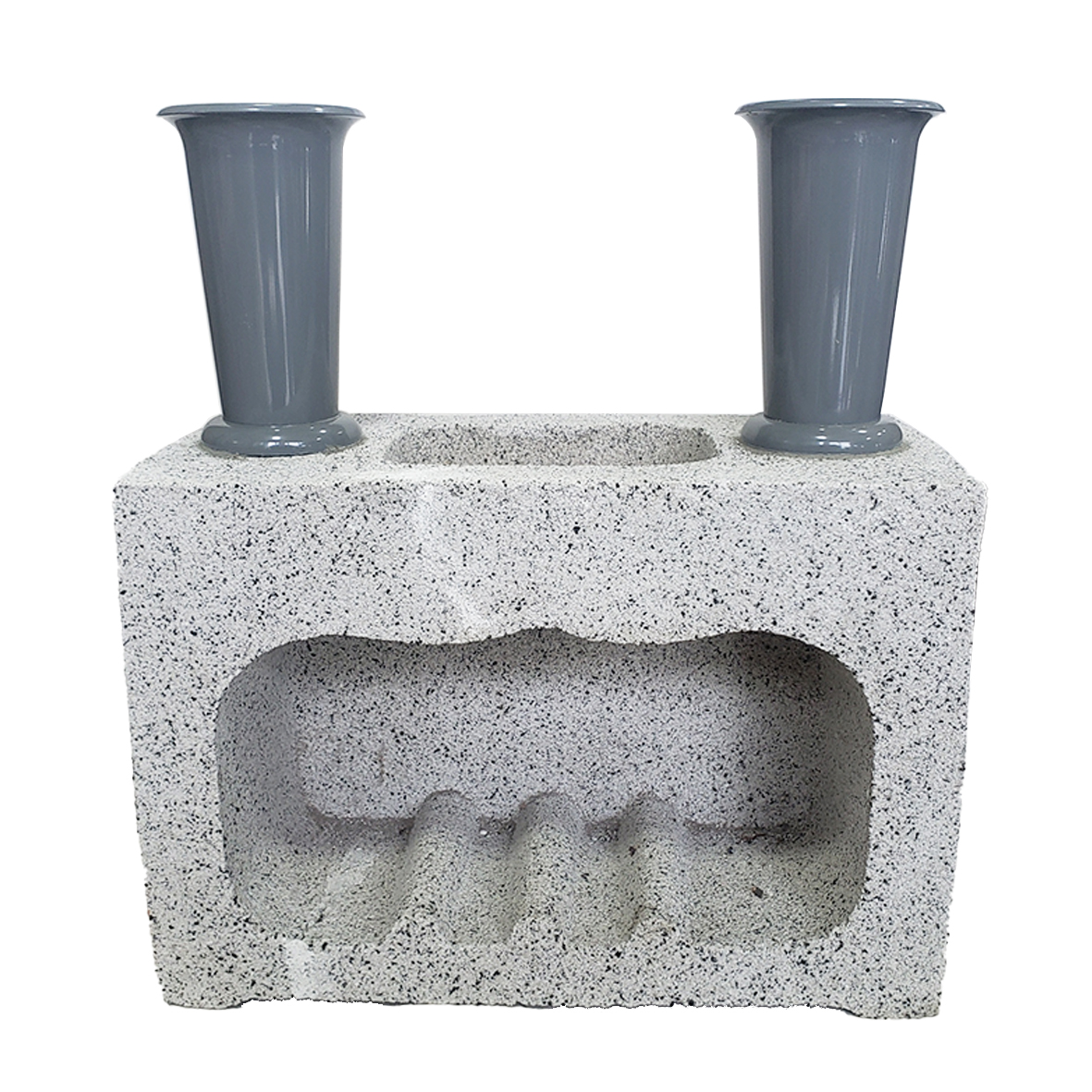 角香炉 花立・水鉢付(コンクリート)